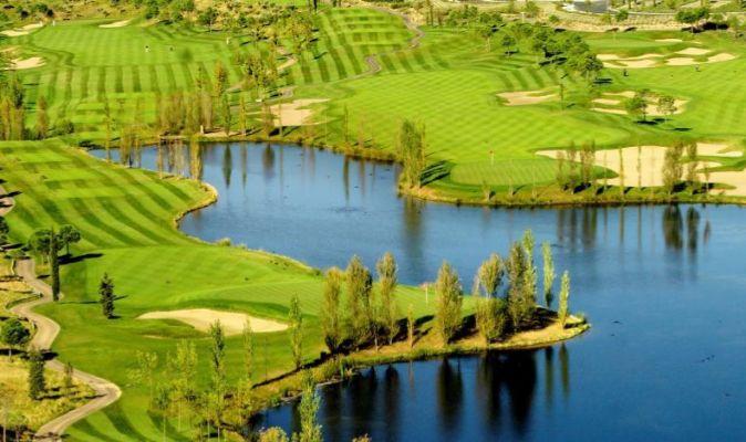 El campo de golf de la Ciudad Financiera del Santander, en Boadilla...