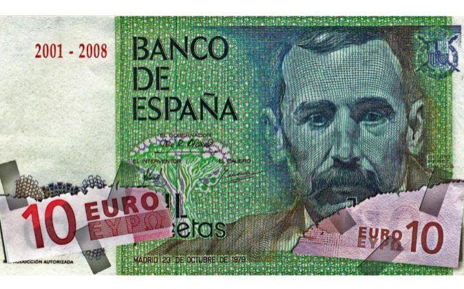 Montaje de un billete de mil pesetas y un billete de 10 euros.