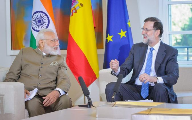 El primer ministro de India, Narendra Modi, reunido hoy en Moncloa con...
