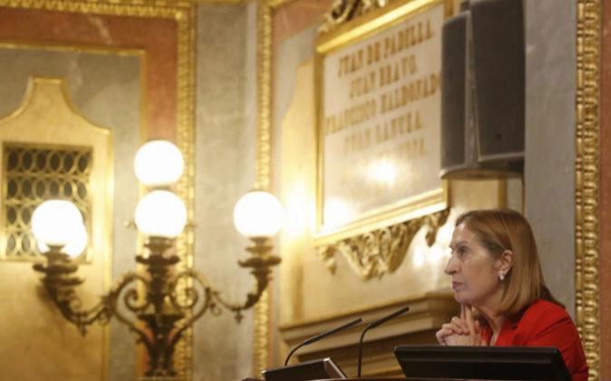 La presidenta de la cámara baja, Ana Pastor, el lunes en el pleno del...