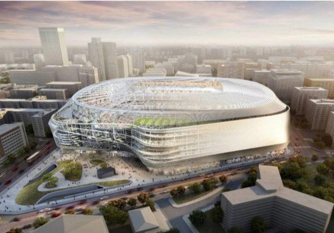 Recreación del Estadio Santiago Bernabéu tras la reforma, que...