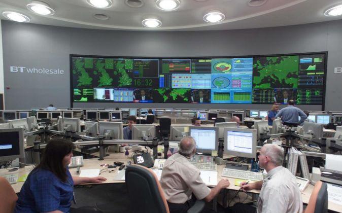 El centro de control de la red de British Telecom.