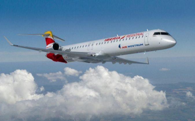 avion CRJ1000 de Air Nostrum. iberia regional