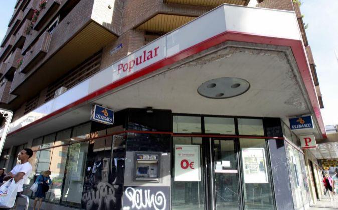 Oficina del Banco Popular en el barrio de Tetuán, en Madrid.