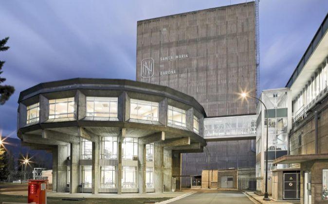 Vista de la entrada principal de la central nuclear burgalesa de Santa...