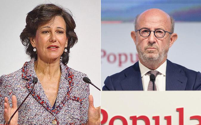 Ana Botín, presidenta de Banco Santander, y Emilio Saracho,...