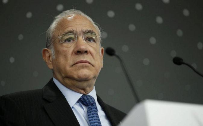 El secretario general de la OCDE, Ángel Gurría, da un discurso ayer...