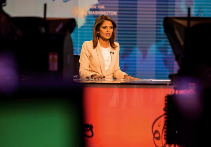 Un plató de Al Jazeera durante uno de sus programas, en una imagen de...