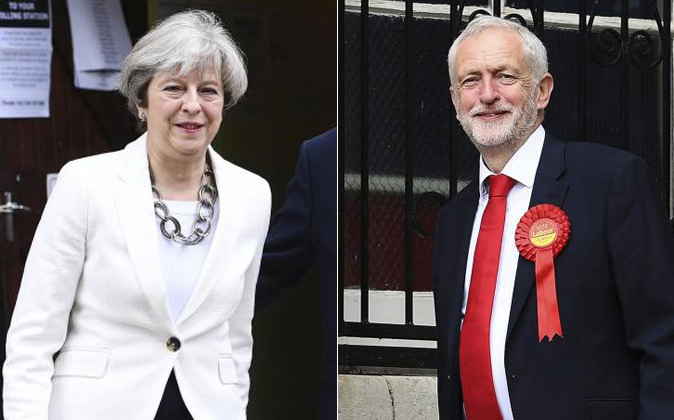 Theresa May y Jeremy Corbyn.