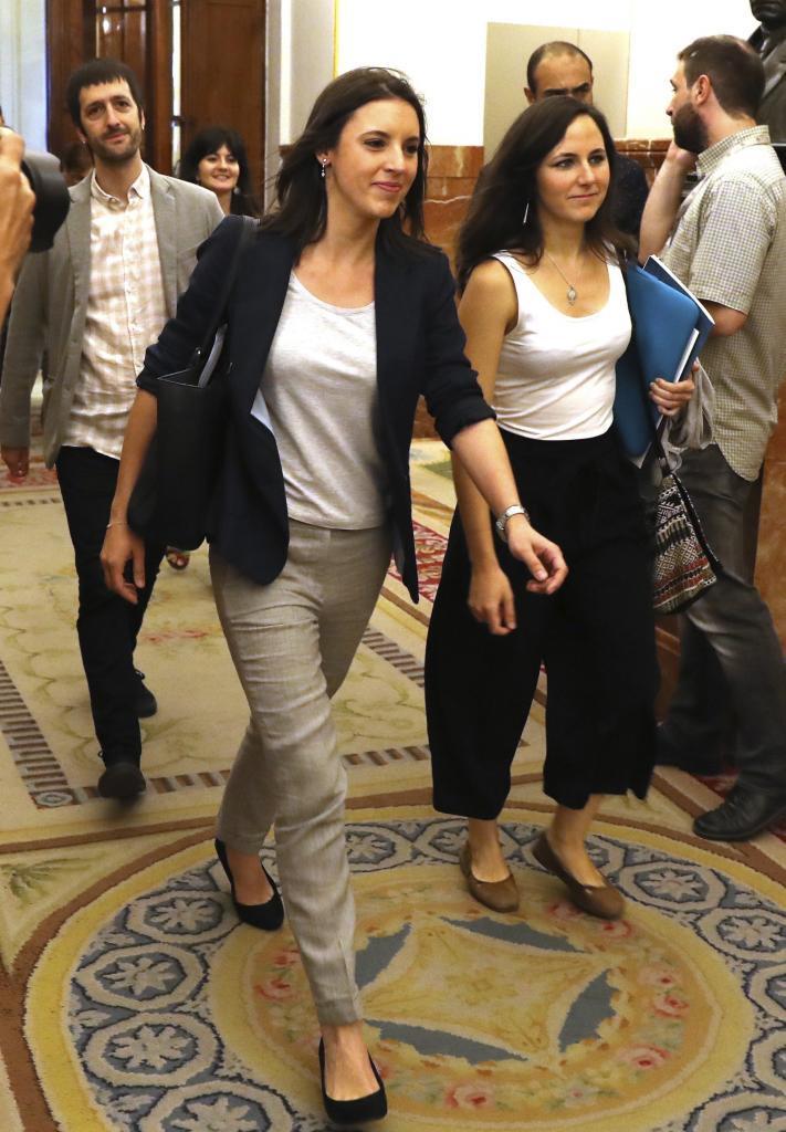 La portavoz de Unidos Podemos, Irene Montero, a su llegada al Congreso...