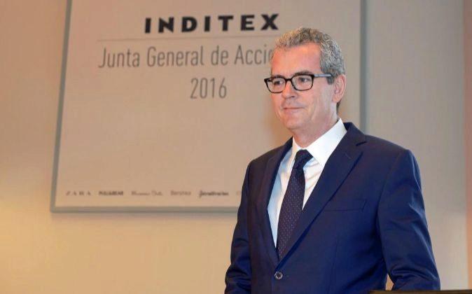 El presidente de Inditex, Pablo isla, durante la pasada junta general...