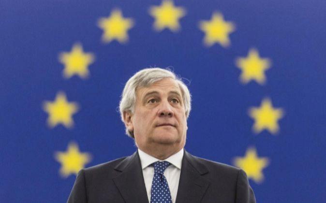 El presidente del Parlamento Europeo, Antonio Tajani, hoy.