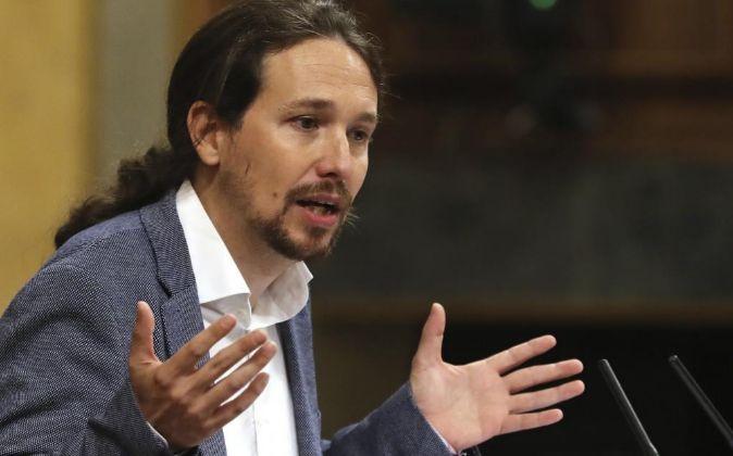 El líder de Podemos, Pablo Iglesias, durante su intervención en el...