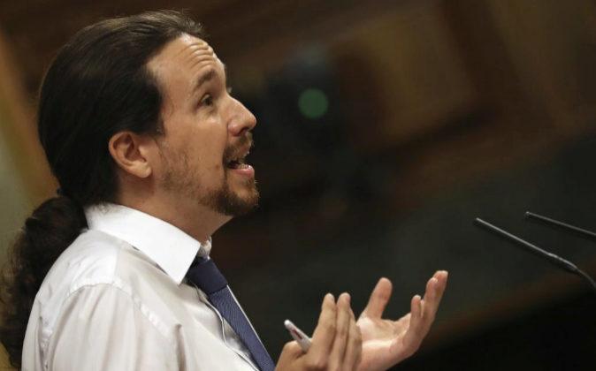 El líder de Podemos, Pablo Iglesias, durante su intervención esta...
