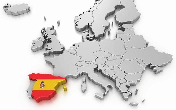Mapa de Europa en 3D con España destacada con los colores de la...