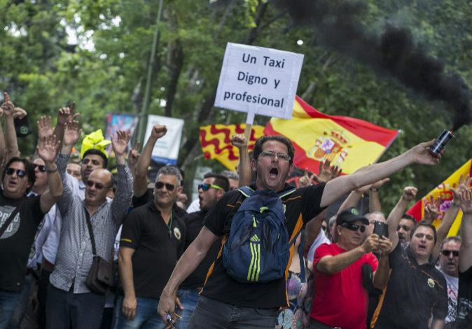 Imagen de la jornada de huelga del sector del taxi el pasado 30 de...