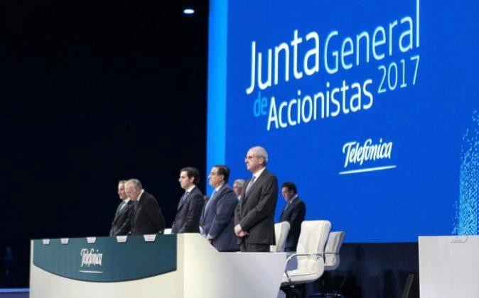 Imagen de la junta de accionistas de Telefónica celebrada la semana...
