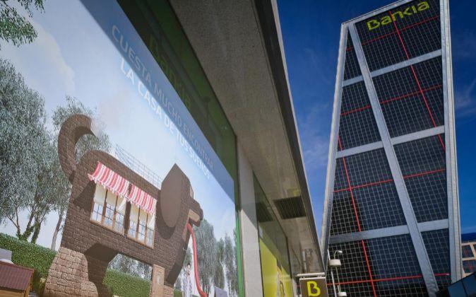 Sucursal de Bankia junto a la sede de la Plaza de Castilla en Madrid