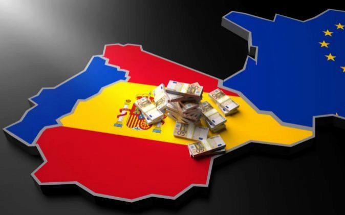 Mapa de España con billetes de 50 euros.