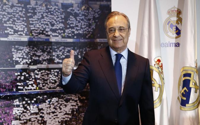 Florentino Pérez tras ser reelegido para su quito mandato al frente...