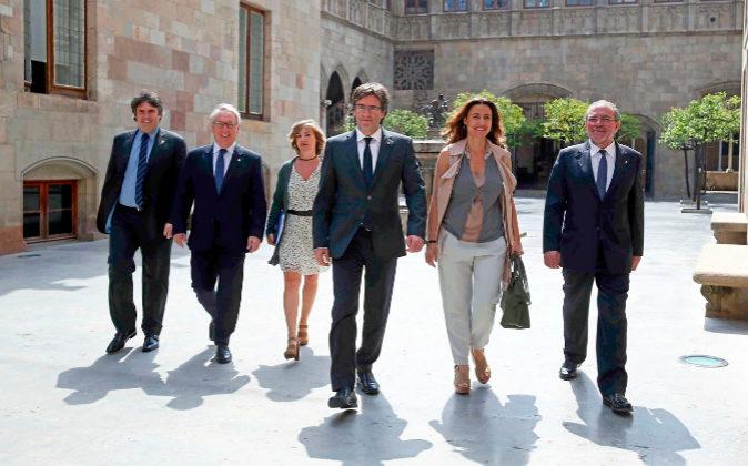 El presidente de la Diputación de Girona, Pere Vila; el presidente de...