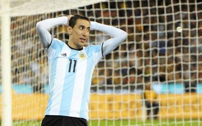 El jugador de la selección argentina de fútbol Ángel di María...