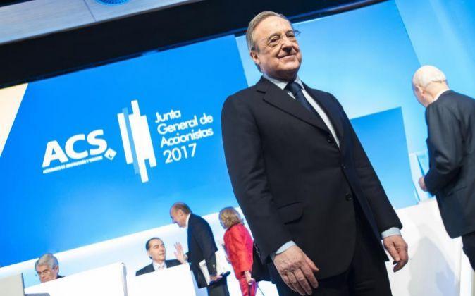 Florentino Pérez, el presidente de ACS, en la Junta General de...