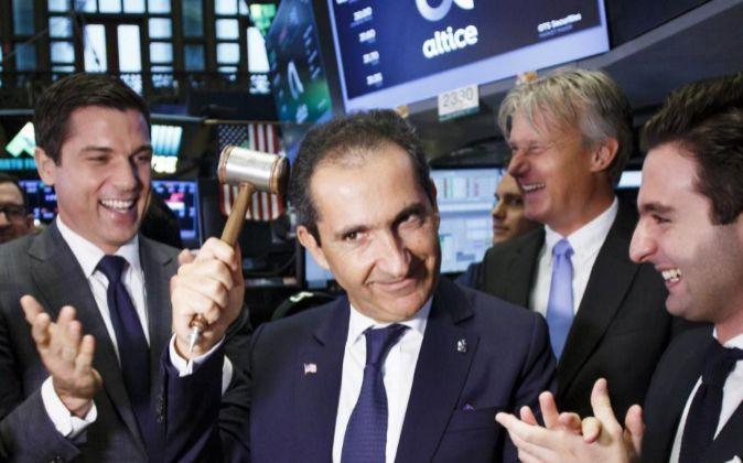 El fundador de Altice, Patrick Drahi, en la Bolsa de Nueva York.