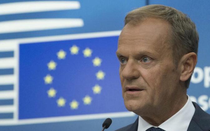 El presidente del Consejo Europeo, Donald Tusk, ayer durante la rueda...