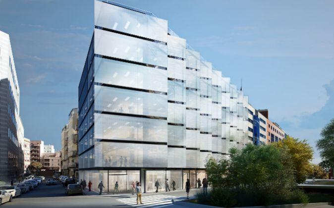 Imagen del edificio que construye Hispania y que albergará la sede...