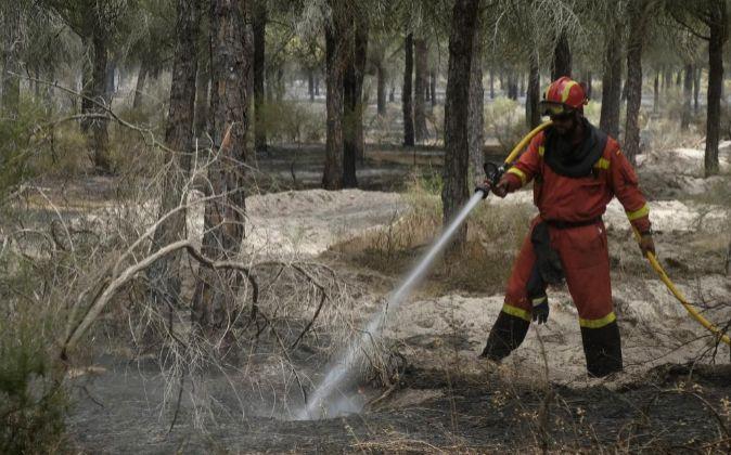 Imagen de los trabajos de extinción del fuego en la provincia de...