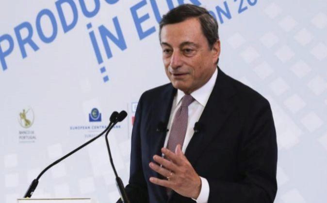 El presidente del BCE, Mario Draghi, en un acto en Lisboa