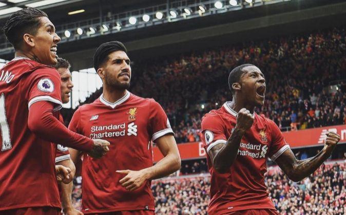 Jugadores del Liverpool.