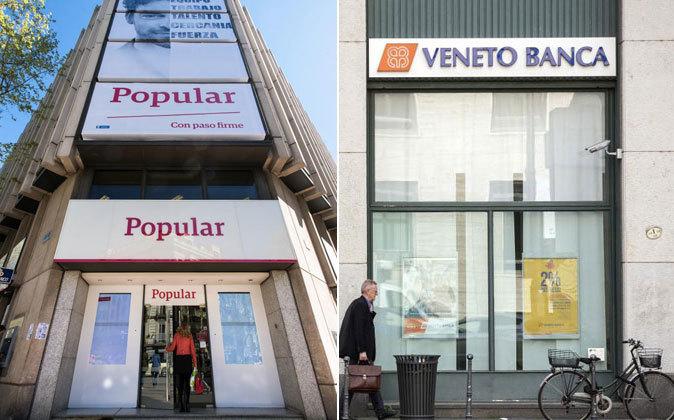 Sucursales de Popular y Veneto Banca.