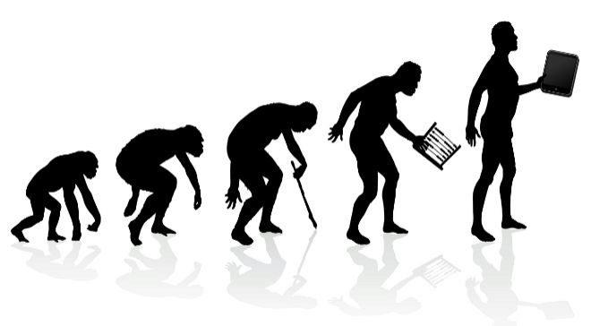 Ilustración que representa el progreso tecnológico de la Humanidad.