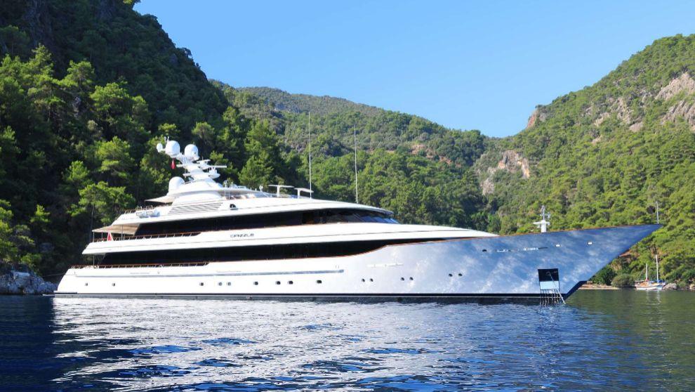 La embarcación Drizzle, propiedad ahora de Amancio Ortega, durante un...