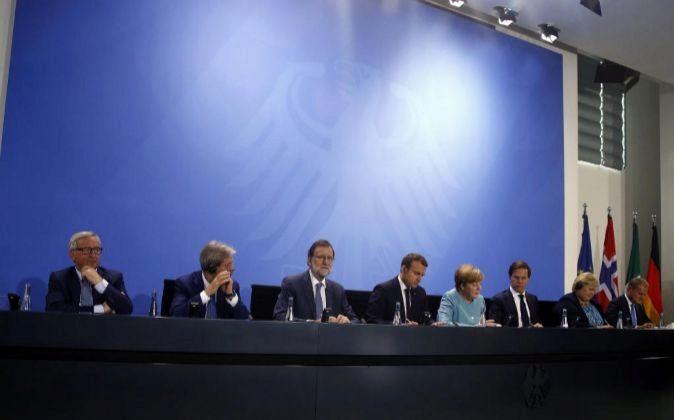 Comparecencia conjunta tras la reunión de jefes de Estado y de...