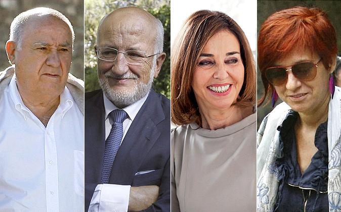 Amancio Ortega, Juan Roig, Hortensia Herrero y Sandra Ortega