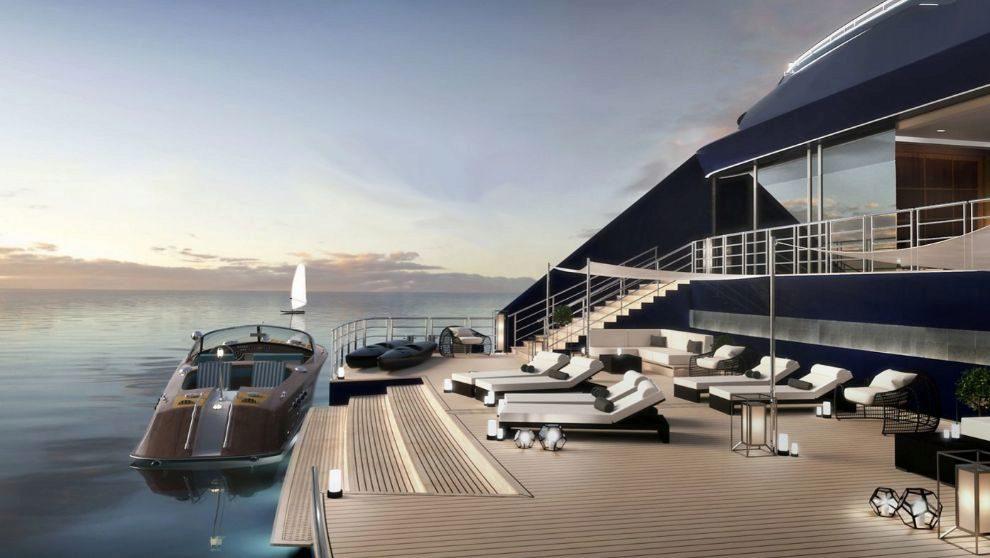 La popa está diseñada como una marina, donde los pasajeros pueden...