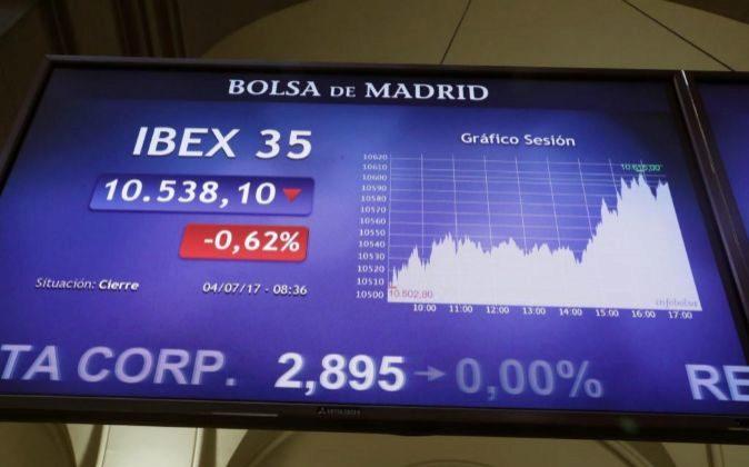 Marcador del Ibex en el interior de la Bolsa de Madrid, el pasado 4 de...