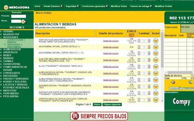 Imagen de la página de compra online de Mercadona.