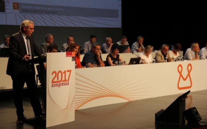 El presidente de Mondragón, Íñigo Ucín, en el congreso anual...