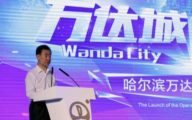 El presidente del Grupo Wanda, Wang Jianlin, durante un acto.