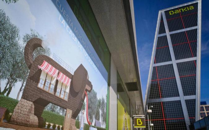 Sucursal de Bankia junto a la sede de la entidad en Plaza de Castilla.