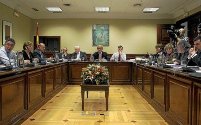 Vista de la reunión de la Comisión del Pacto de Toledo sobre la...