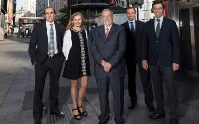 De izquierda a derecha, Carlos Calero, Teresa Calero, Rufino Calero,...