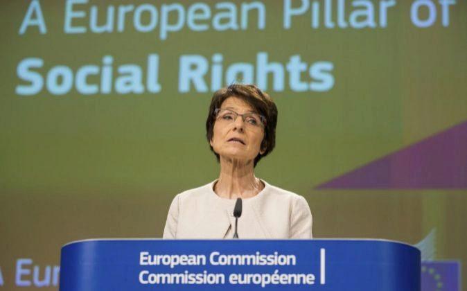 La comisaria europea de Empleo, Marianne Thyssen, interviene en una...