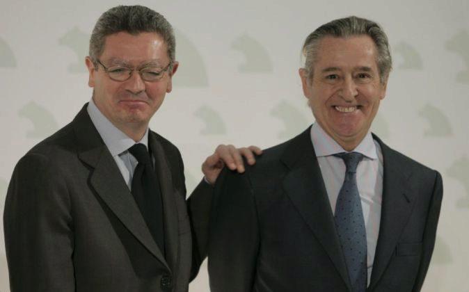 Alberto Ruiz Gallardón y Miguel Blesa en 2009 cuando eran alcalde...