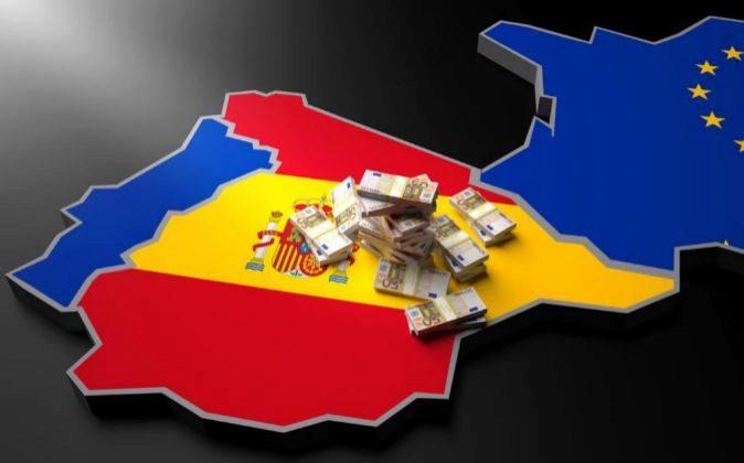 MAPA ESPAÑA COLORES BANDERA ESPAÑOLA. FAJOS BILLETES DE EURO....