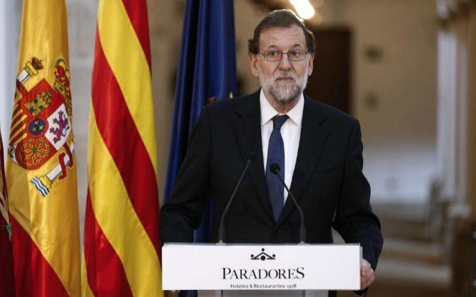 El presidente del Gobierno, Mariano Rajoy, en su intervención hoy en...